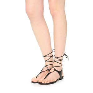 Michael Kors Sofia Flat Lace-Up Leather Sandals